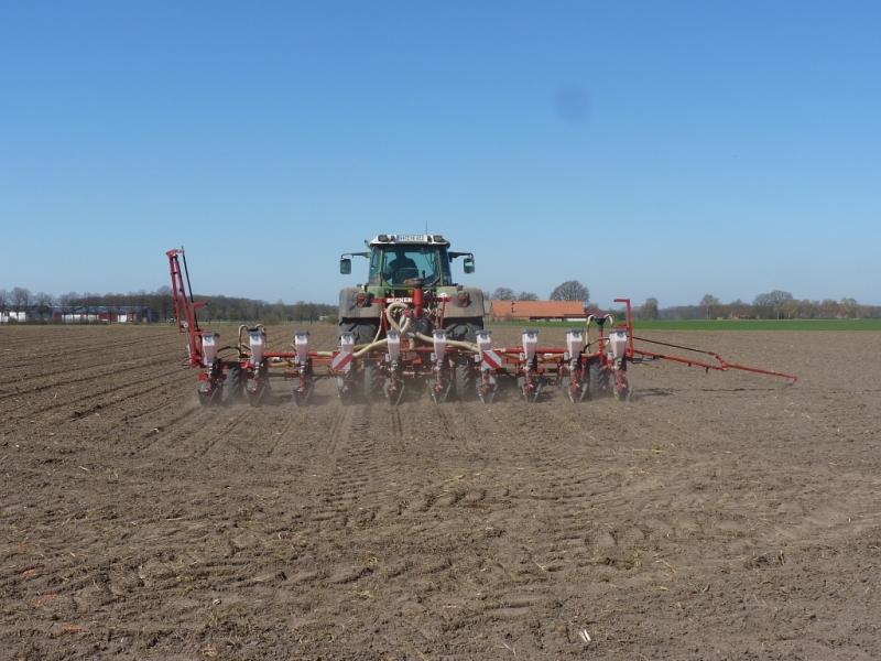 Fendt 820 Vario TMS mit Becker Maislegemaschine 10-reihig